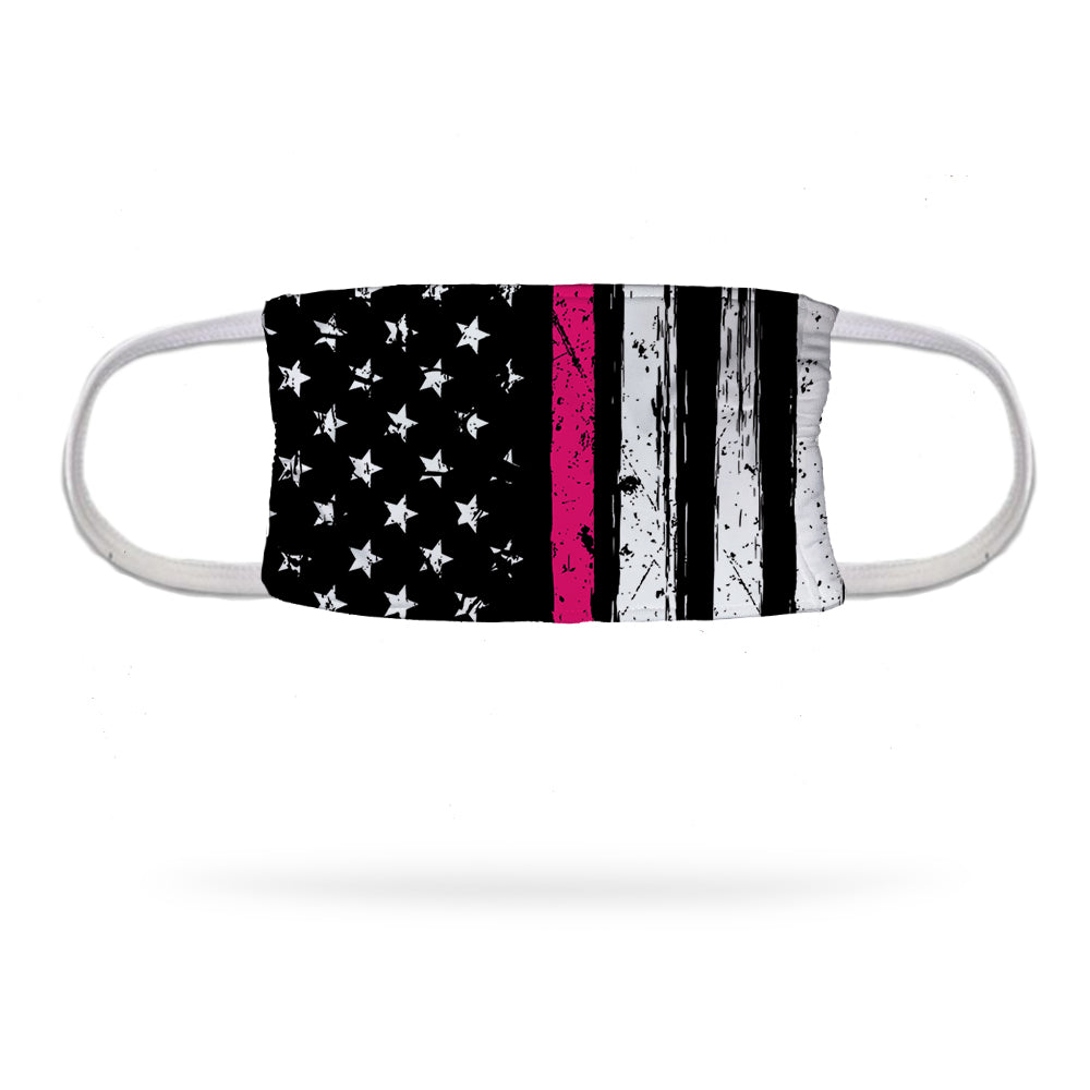 Flag with Breast Cancer Stripe Face Mask