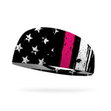 Flag with Breast Cancer Stripe Wicking Performance Headband