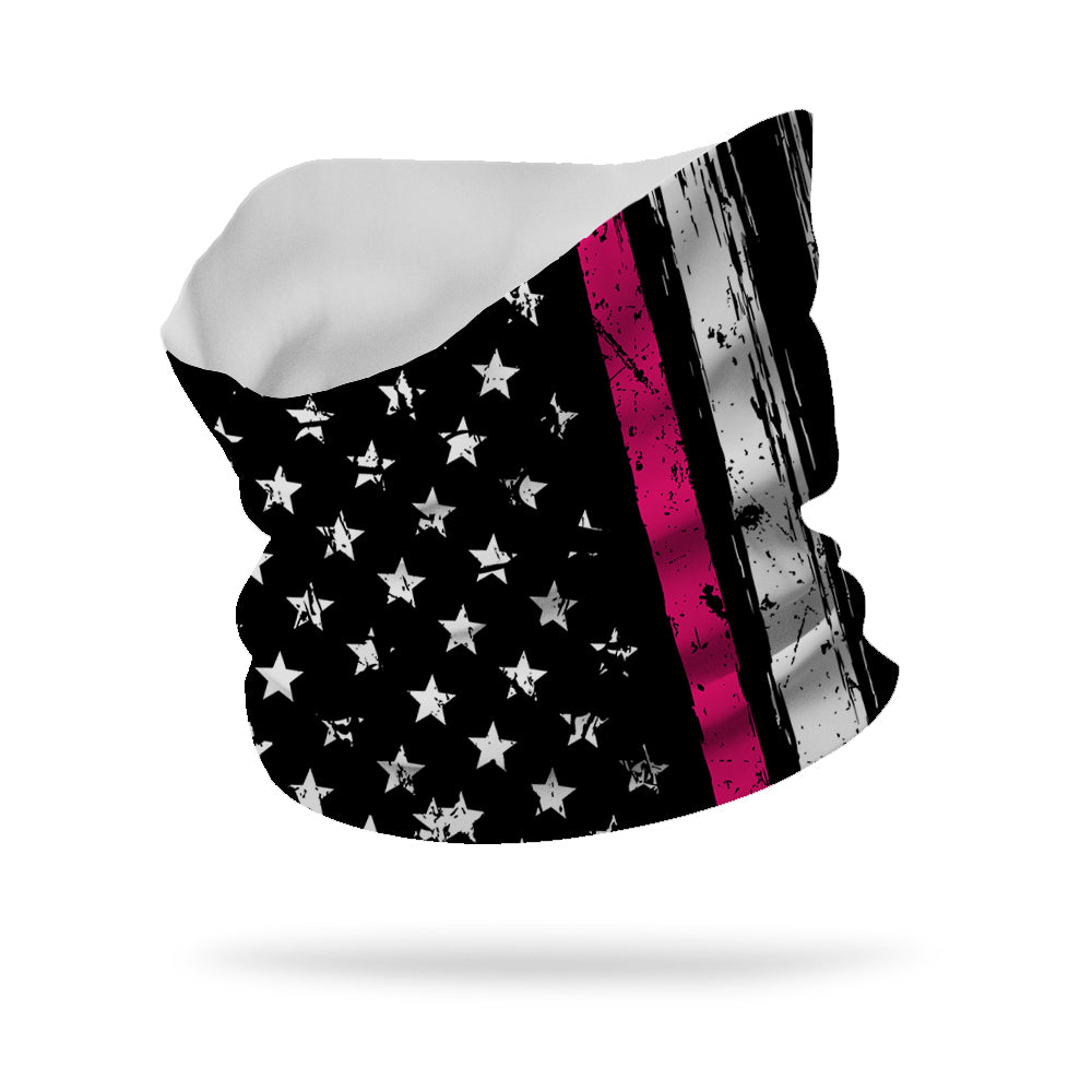 "Flag with Breast Cancer Stripe Neck Gaiter Wicking Neck Gaiter 12"" Length"