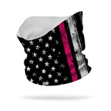 Flag with Breast Cancer Stripe Neck Gaiter Wicking Neck Gaiter 12