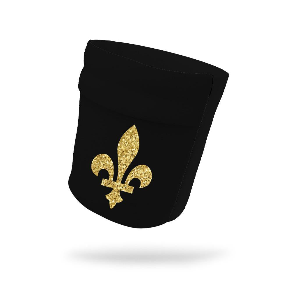 "Fleur De Lis Athletic Yellow Shimmer Armband Midnight Black 6.22"" Height"
