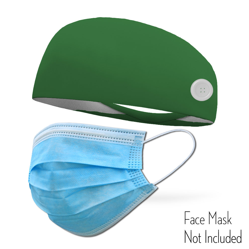 Forest Green Headband with Buttons To Attach Medical Face Masks (Headband only Mask Not Included)