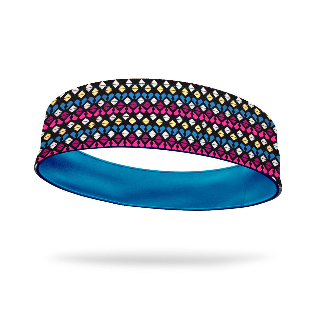 Geometric Candy Fashion and Aqua Wicking Reversible Headband