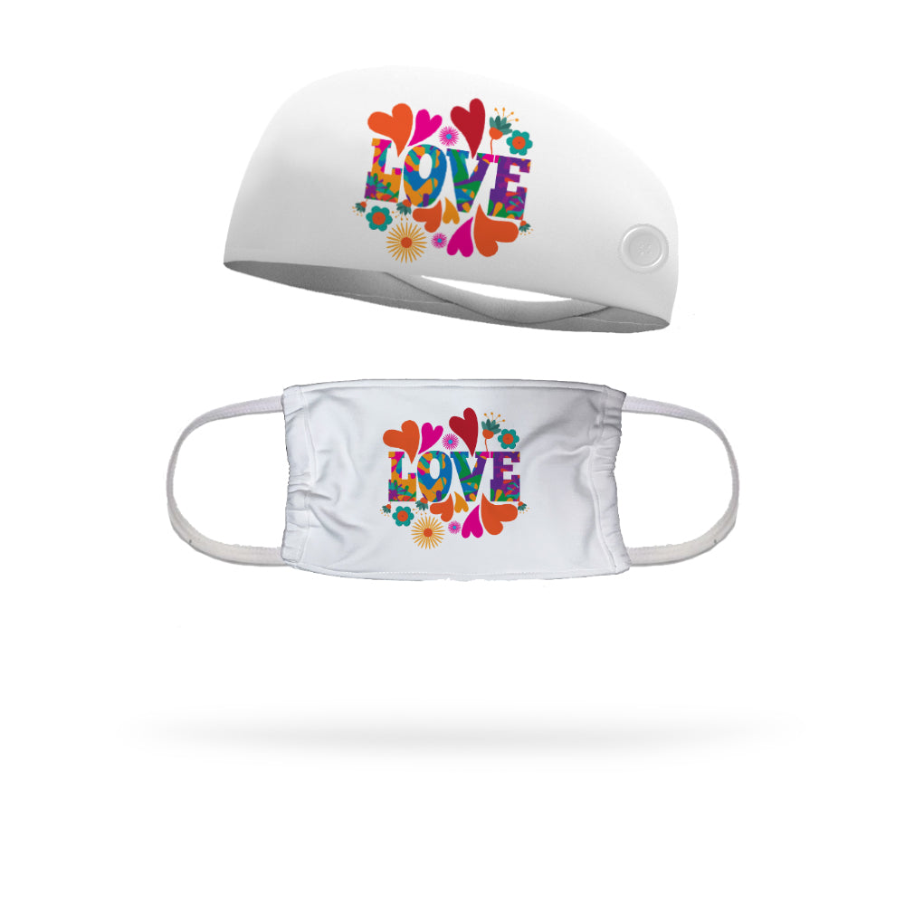 Give Love Face Mask with Matching Headband