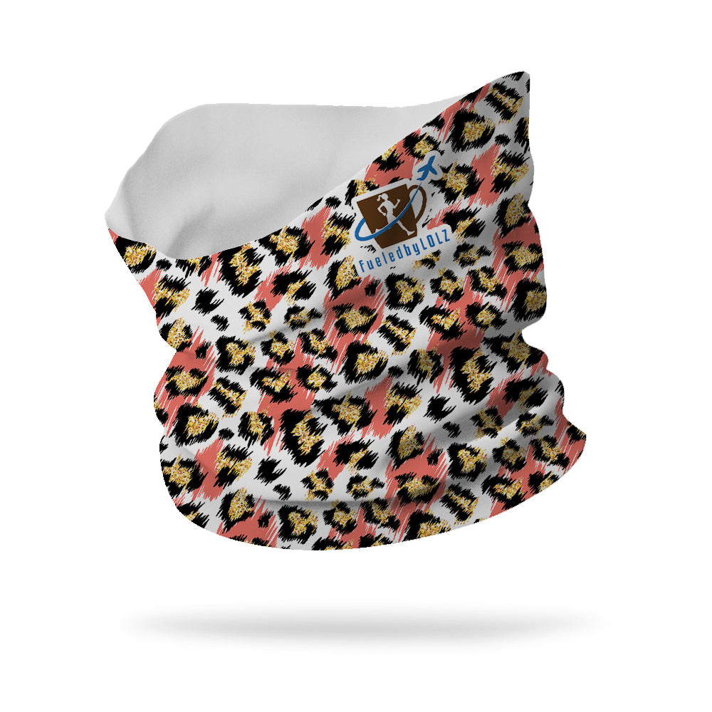 "FueledbyLOLZ Collection Glitter Cheetah Print Wicking Neck Gaiter 12"" Length"