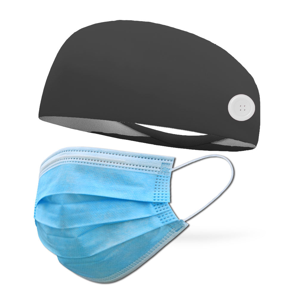 Solid Color FLEECE Headband with Buttons to Loop Medical Face Mask (Mask Not Included)