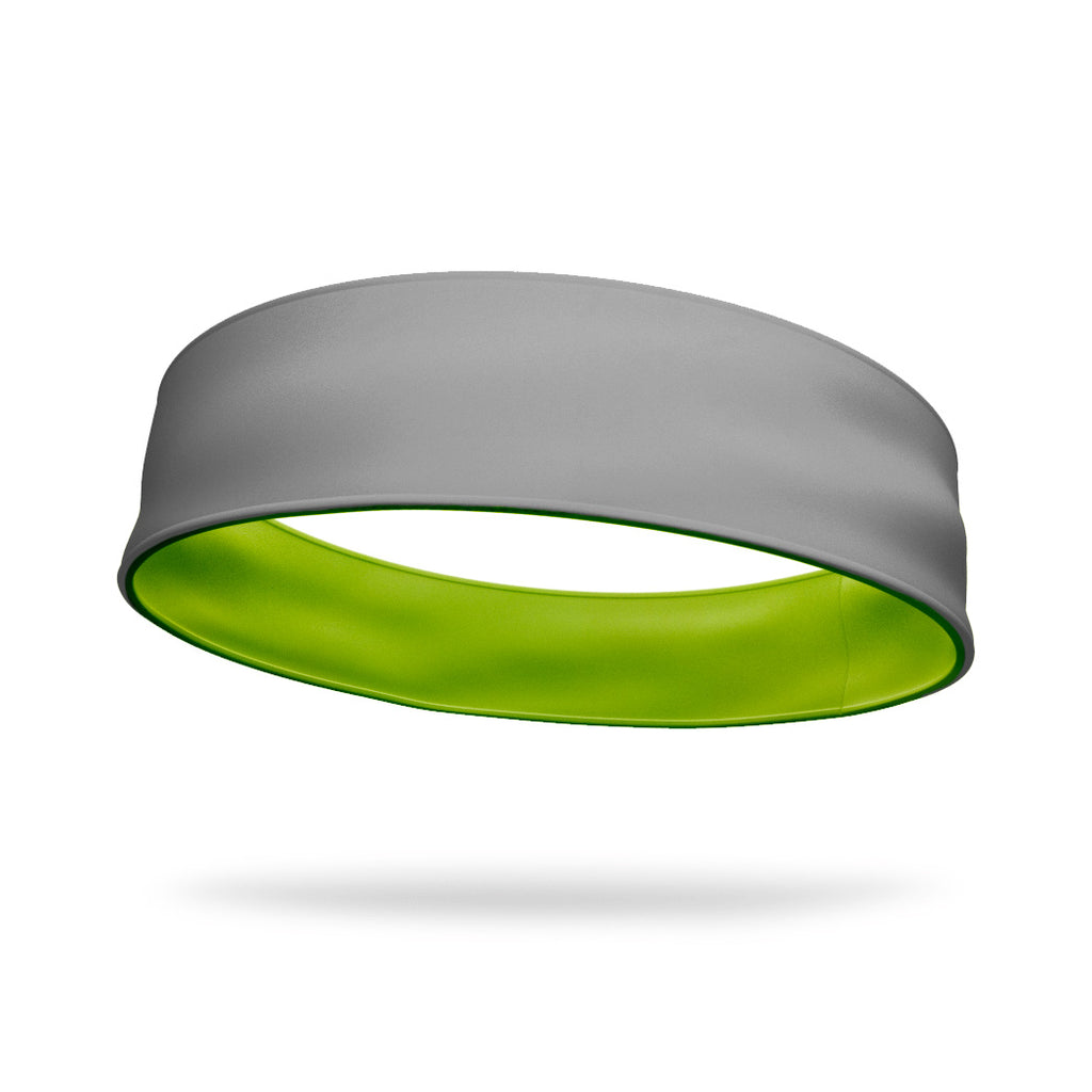Gray and Neon Green Wicking Reversible Headband