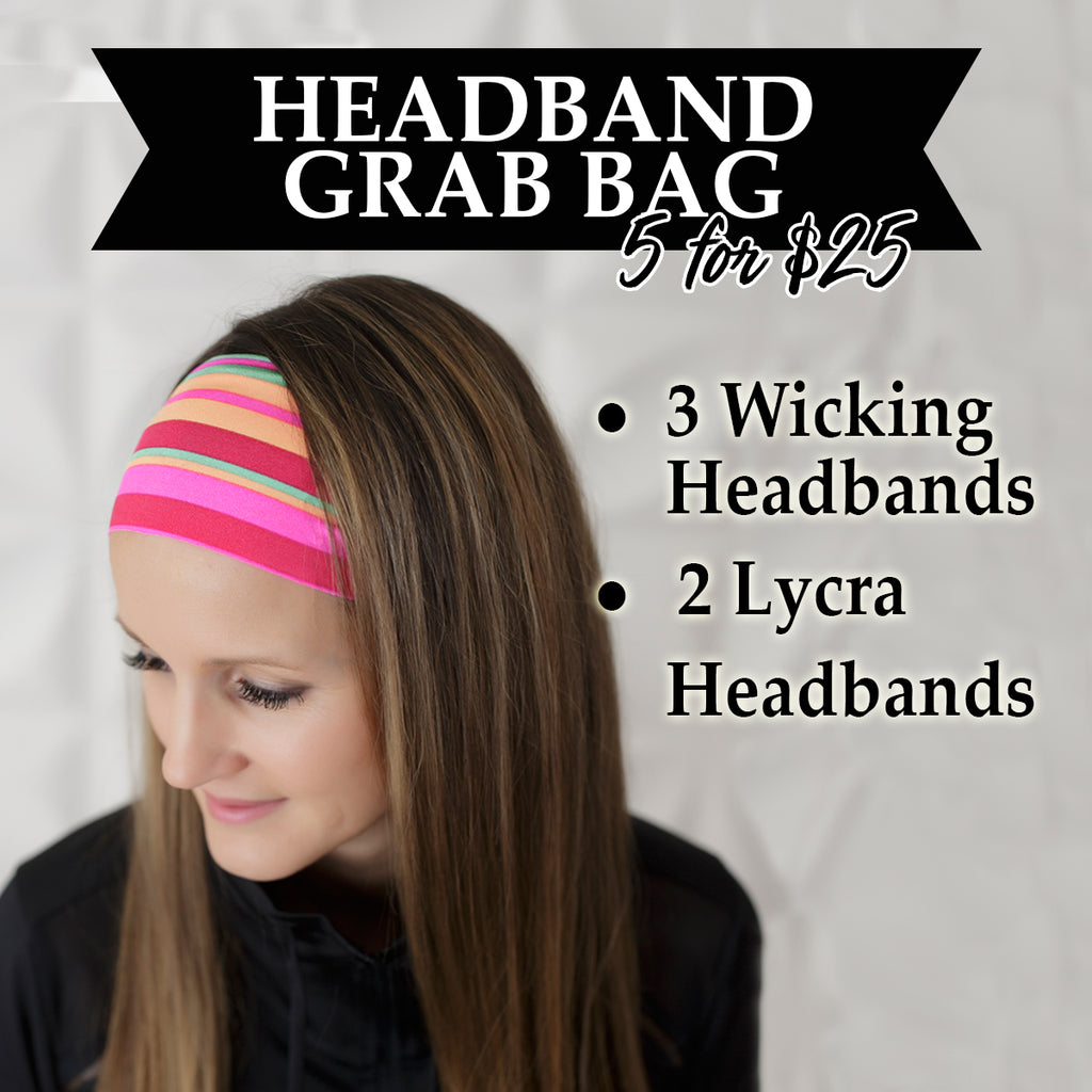 Headband Grab Bag Wicking and Fashion Headbands 5 for $25