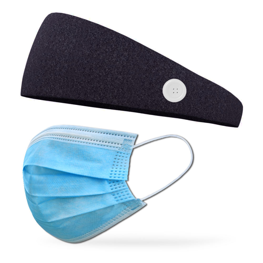 Heather Charcoal Button Headband to Loop Your Medical Face Masks Onto (Mask Not Included Headband Only)