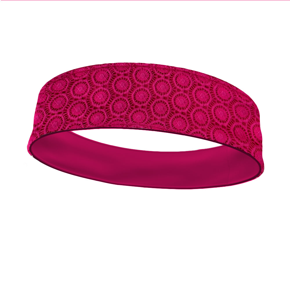 Hot Pink Lace Fashion and Hot Pink Wicking Reversible Headband
