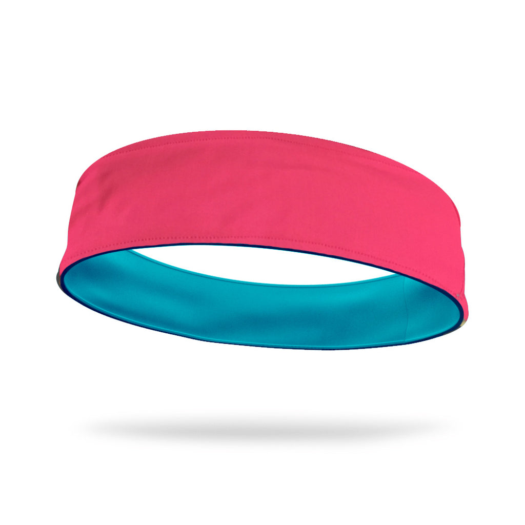 Hot Pink and Aqua Wicking Reversible Headband
