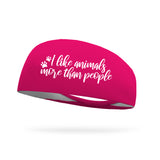 I Like Animals More than People Wicking Performance Headband -White Logo