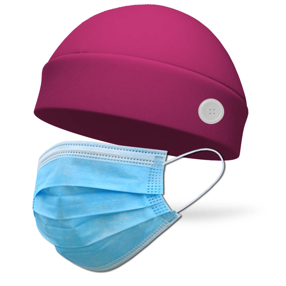Solid Color Pigtail Wicking Hat with Buttons to Loop Medical Face Mask (Mask Not Included)