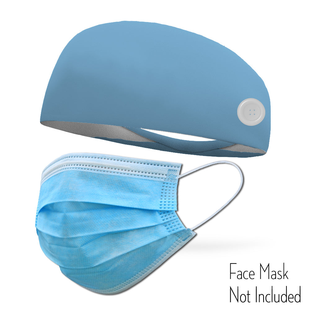 Light Blue Headband with Buttons To Attach Medical Face Masks (Headband only Mask Not Included)