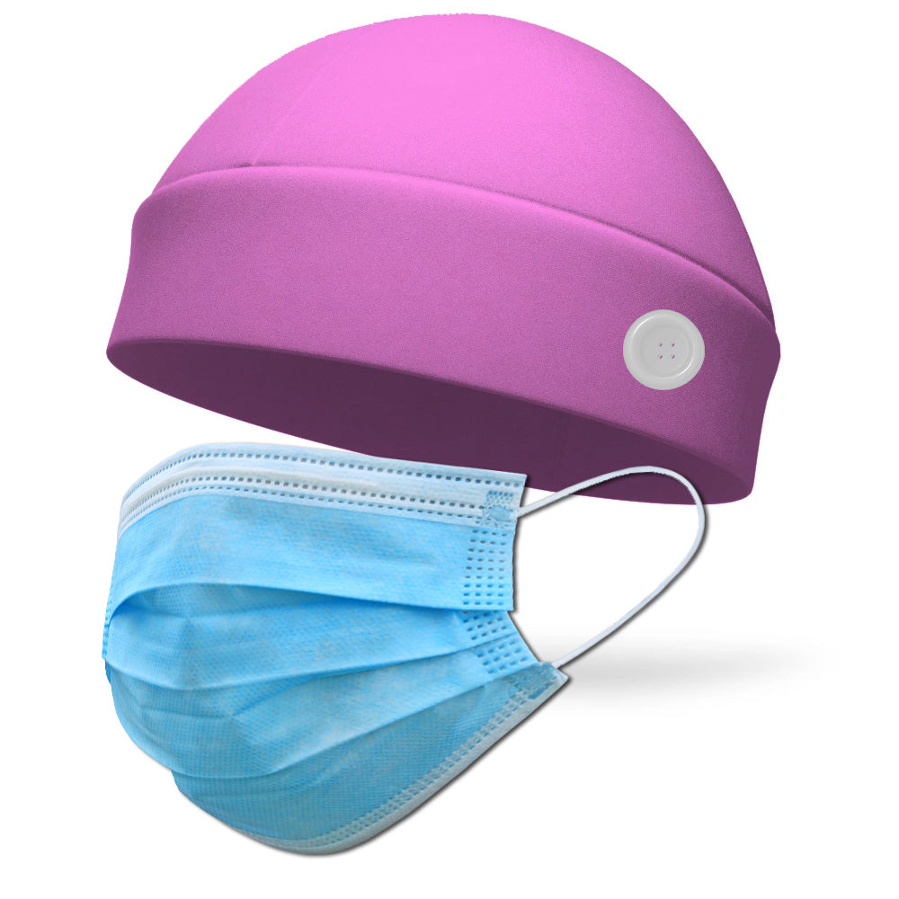 Solid Color FLEECE Ponytail Wicking Hat with Buttons to Loop Medical Face Mask (Mask Not Included)