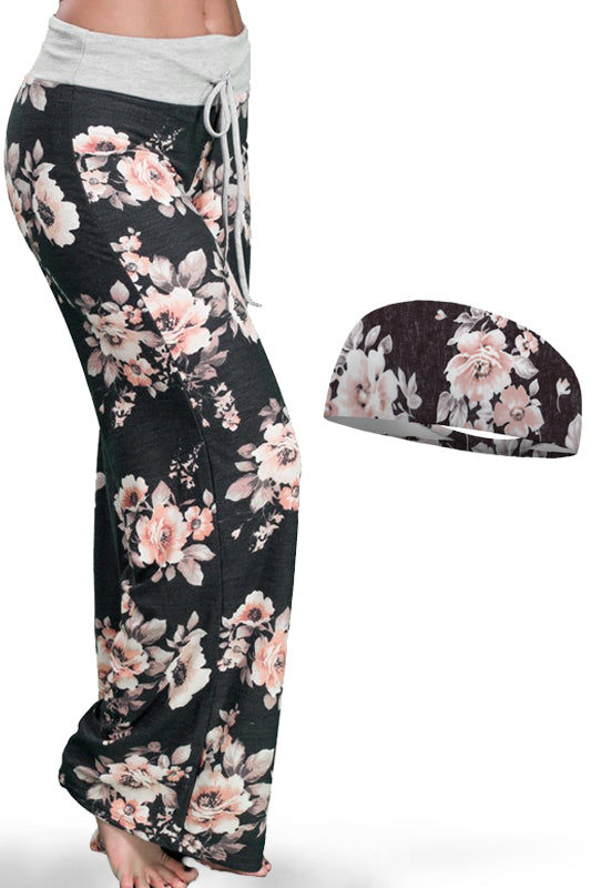 Lounge Around Pink Floral Blush Pants and Wicking Headband Set Bondi Wear