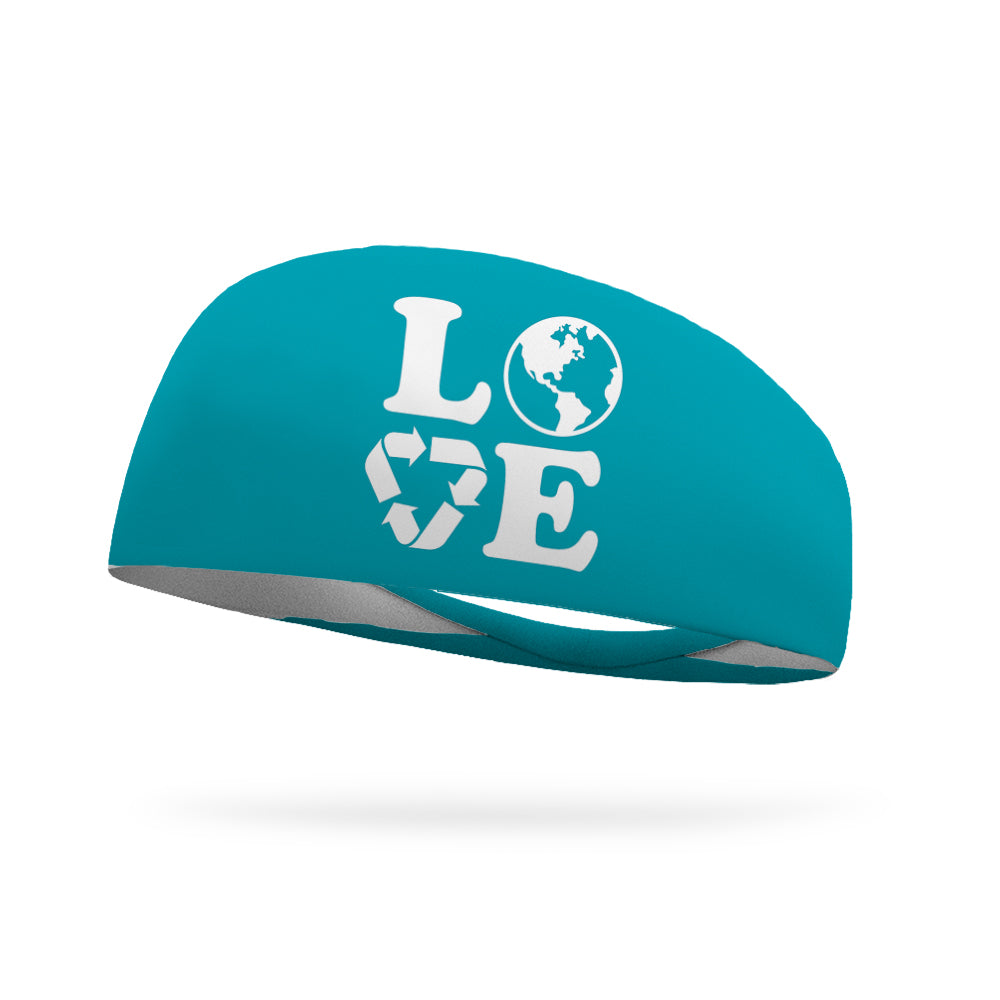 Combo 1 Love This Earth, 1 Solid Forest Green Wicking Headband