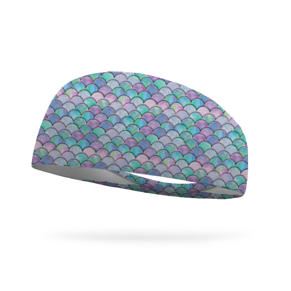 AlyFitMom Collection Mermaid Scales Wicking Performance Headband