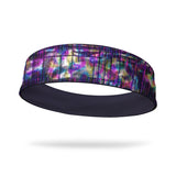 Metallic Lines Fashion and Eggplant Wicking Reversible Headband