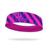 Mixed Animal Print Fashion and Neon Pink Wicking Reversible Headband