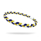 Navy, White and Yellow Single Braided Skinnyband