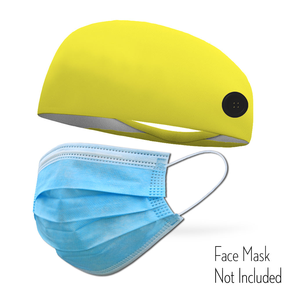 Neon Yellow Headband with Buttons To Attach Medical Face Masks (Headband only Mask Not Included)