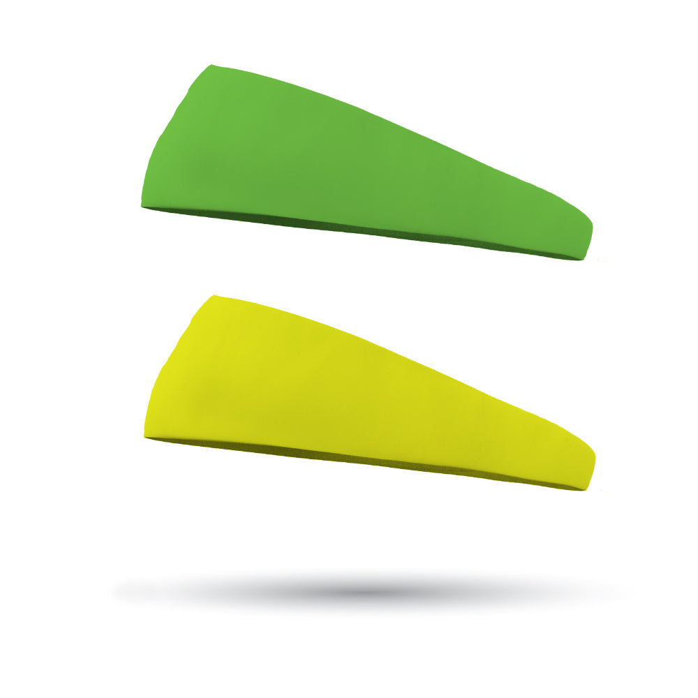 Combo 1 Solid Neon Yellow and 1 Solid Neon Green Wicking Performance Headbands