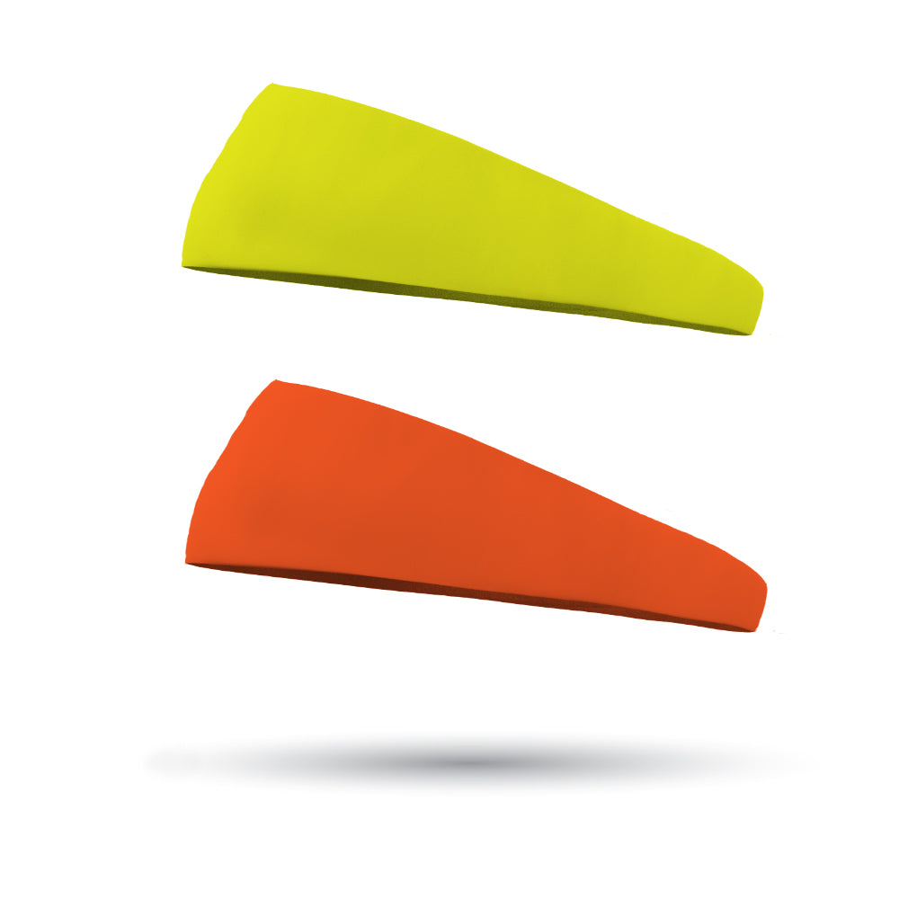 Combo 1 Solid Neon Yellow and 1 Solid Neon Orange Wicking Performance Headbands