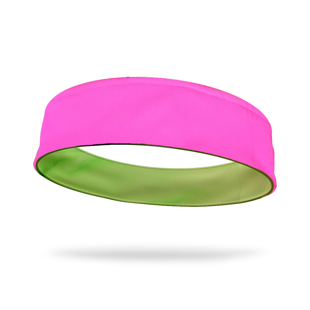 Neon Pink and Green Wicking Reversible Headband