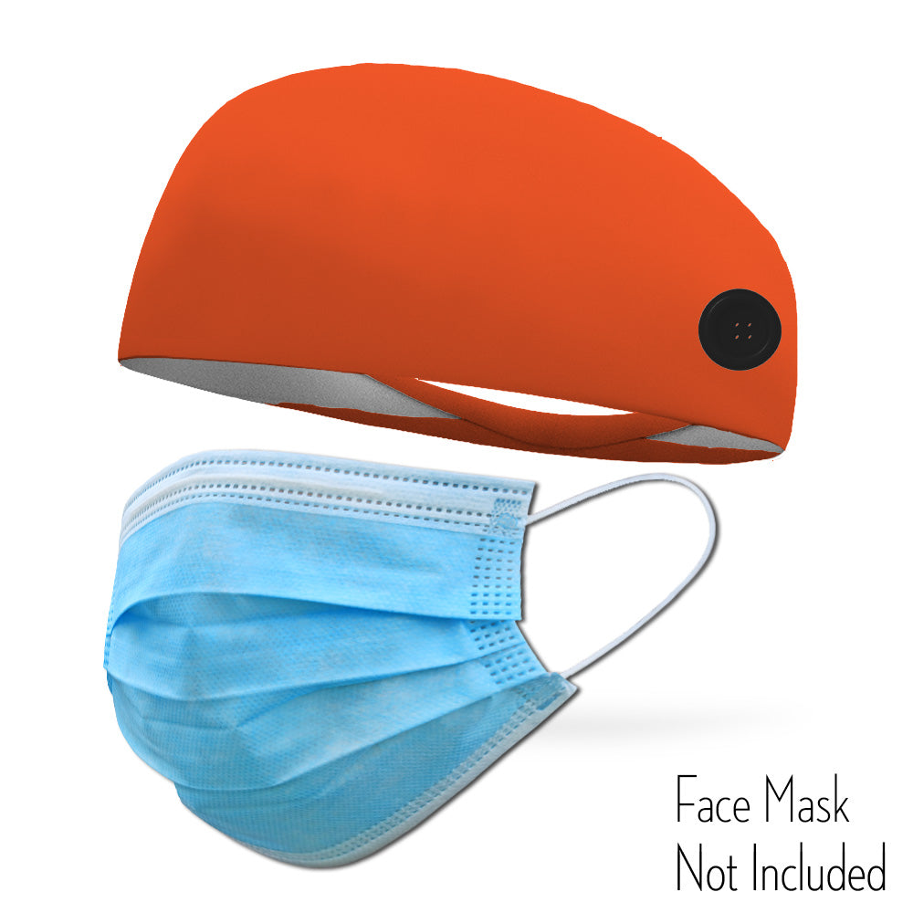 Neon Orange Headband with Buttons To Attach Medical Face Masks (Headband only Mask Not Included)