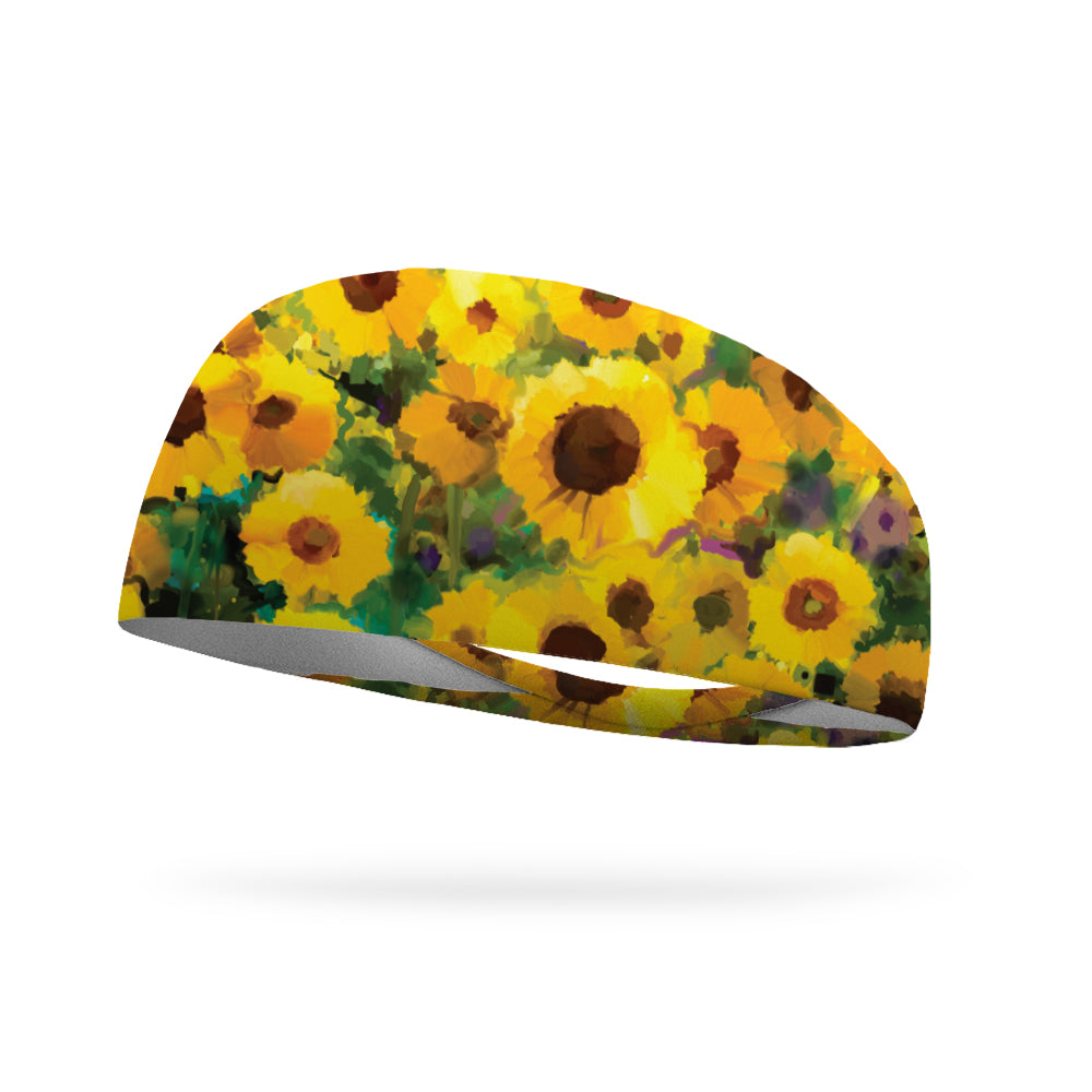 Painted Sunflower Wicking Performance Headband