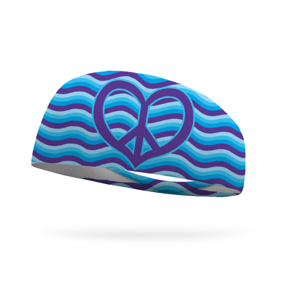Peace Love and Purple Wicking Performance Headband (by Greta Blandford)