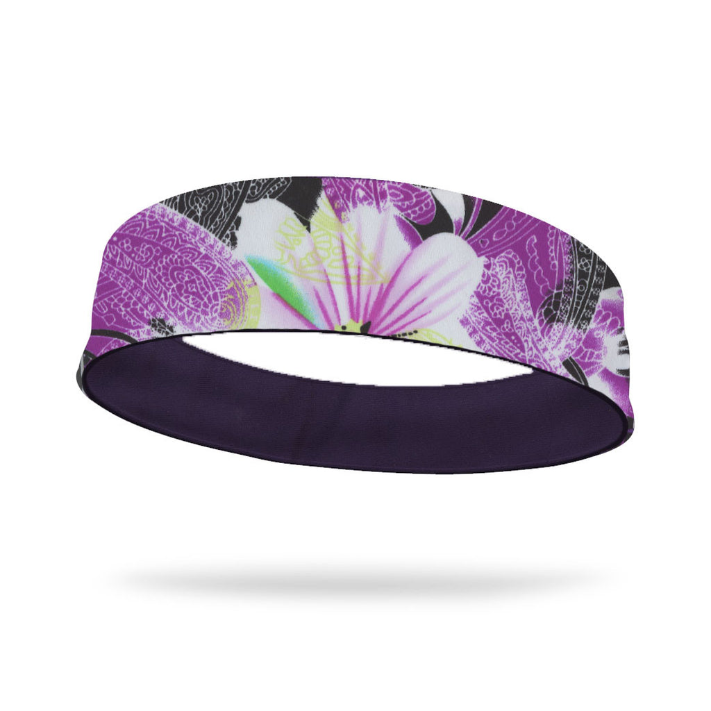 Peaceful Flower Field Fashion and Purple Wicking Reversible Headband