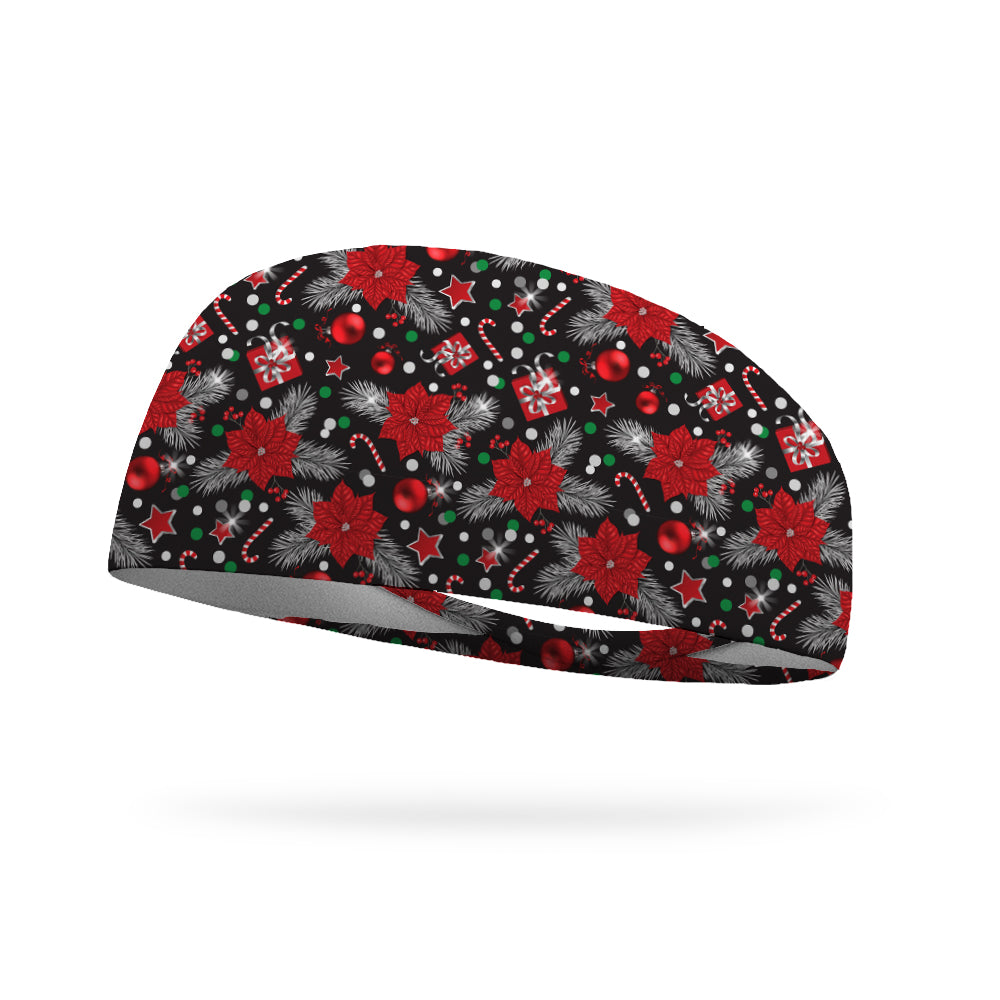Peppermint Poinsettias Wicking Performance Headband