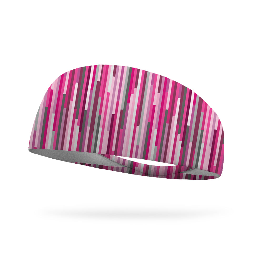 Pink Lines Wicking Performance Headband