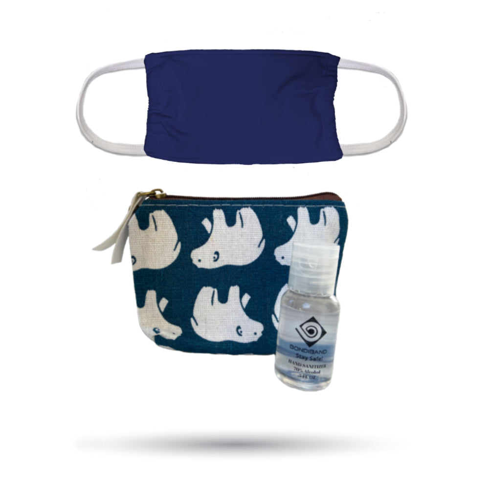 Polar Bear Pouch, Navy Face Mask and Hand Sanitizer Safety Pack