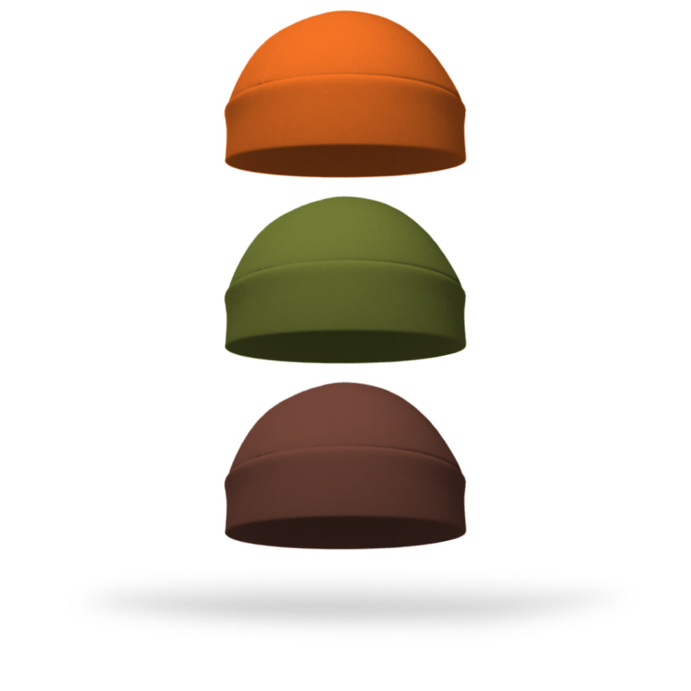 Combo 1 Solid Ponytail Pumpkin, 1 Solid Regular Army Green and 1 Solid Regular Brown Wicking Hat