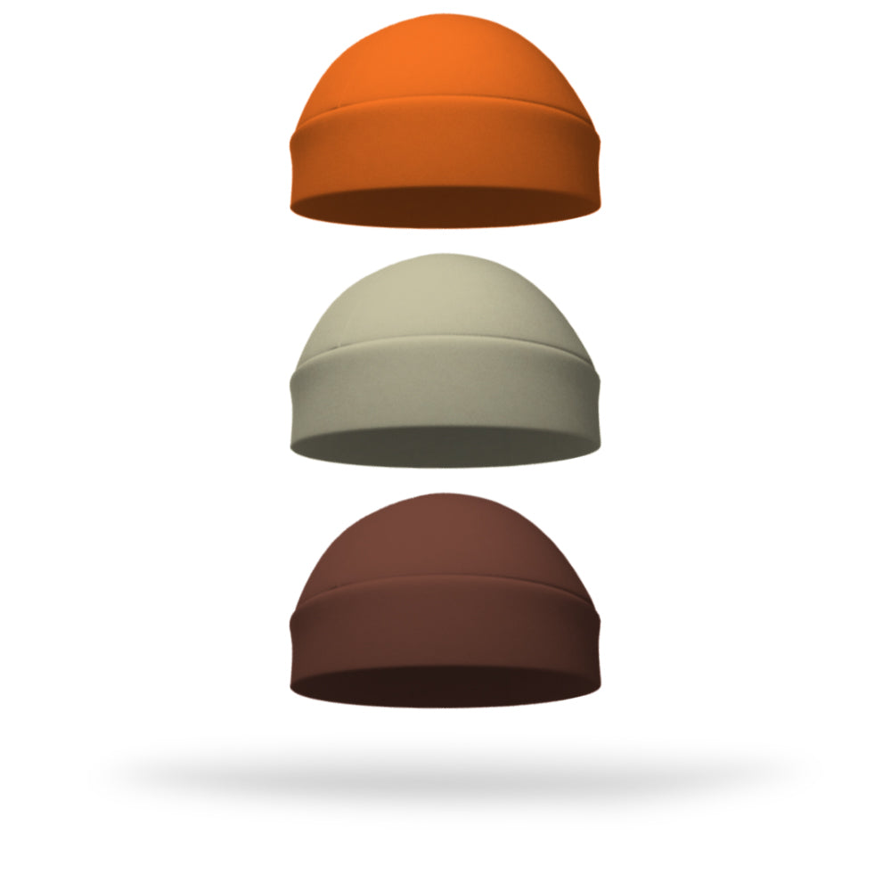Combo 1 Solid Ponytail Pumpkin, 1 Solid Regular Sand and 1 Solid Regular Brown Wicking Hat