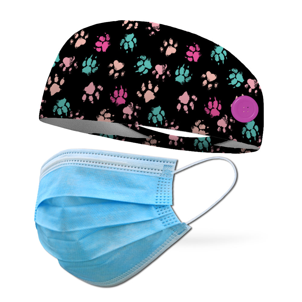 Puppy Paws Wicking Button Headband to Loop Your Medical Face Masks Onto (Mask Not Included Headband Only)