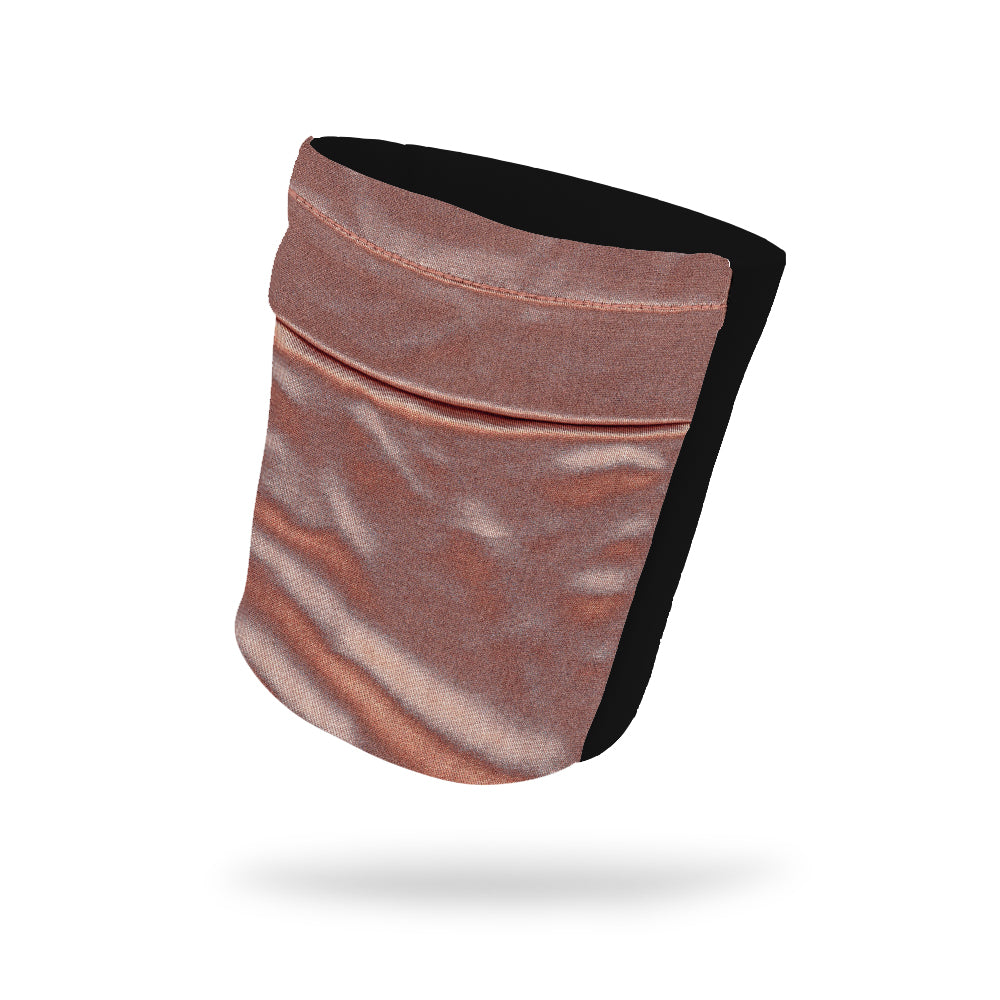 "Rose Gold Shimmer Fashion and Black Wicking Armband 6.22"" Height"