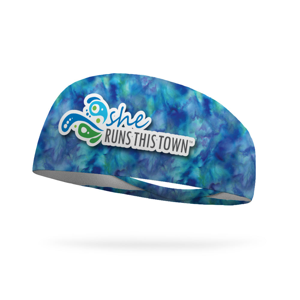 SRTT Watercolor Blue Wicking Performance Headband