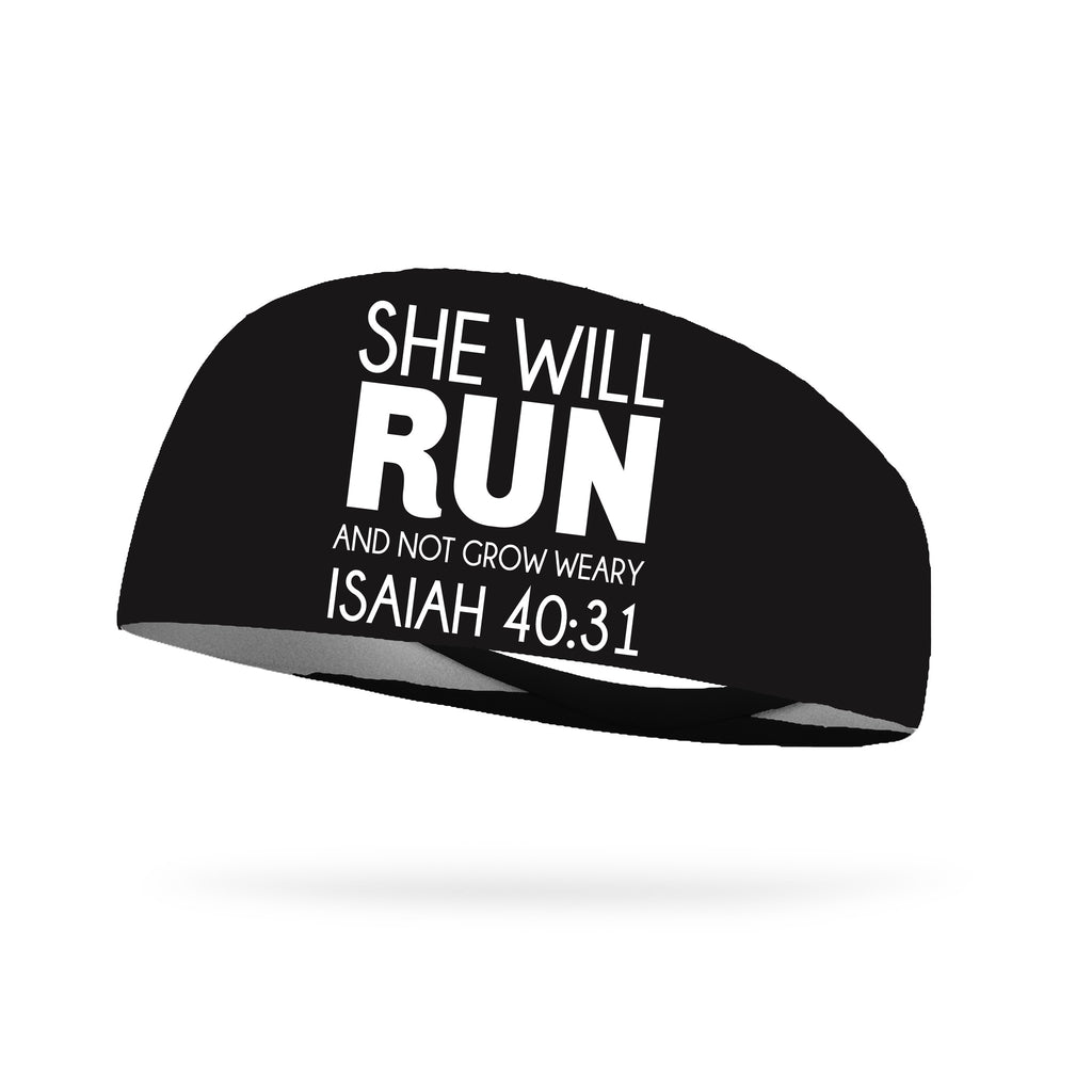 She Will Run and Not Grow Weary Isaiah 40:31 Wicking Headband - White Logo