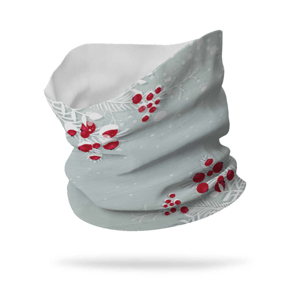 Snow Covered Berries Wicking Neck Gaiter