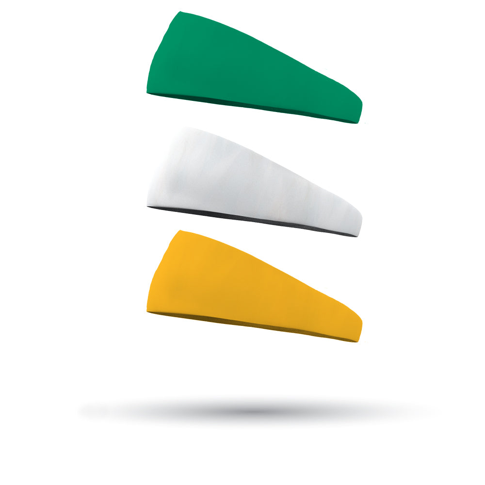 St Patrick's Day Combo 1 Solid Forest Green, 1 Solid White and 1 Solid Athletic Yellow Wicking Headband