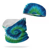 Combo Tie Dye Earth Day Neck Gaiter and 3 inch Headband Wicking Set