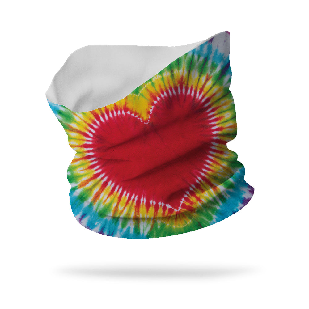 "Tie Dye Heart Wicking Neck Gaiter 12"" Length"