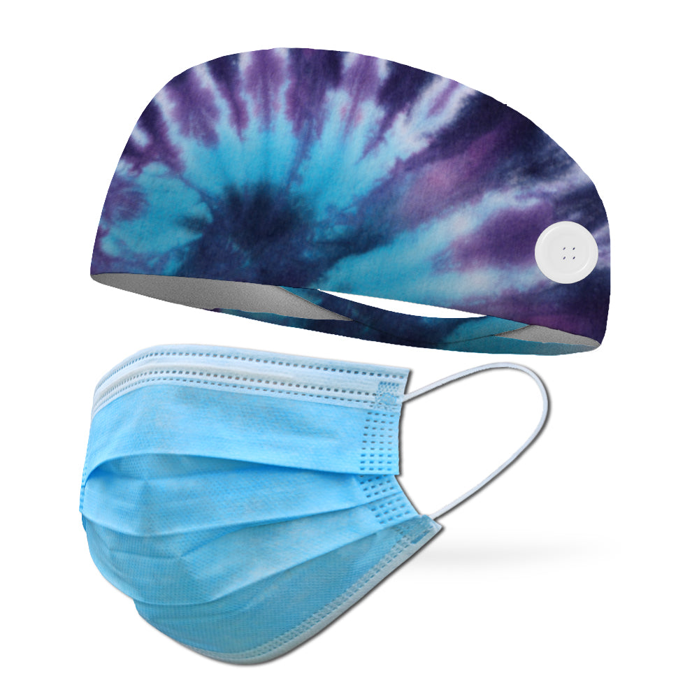 Tie Dye Hippie Blue Wicking Button Headband to Loop Your Medical Face Masks Onto (Mask Not Included Headband Only)