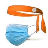 Solid Color Tie Back Headband with Buttons To Loop Medical Masks (Mask Not Included)