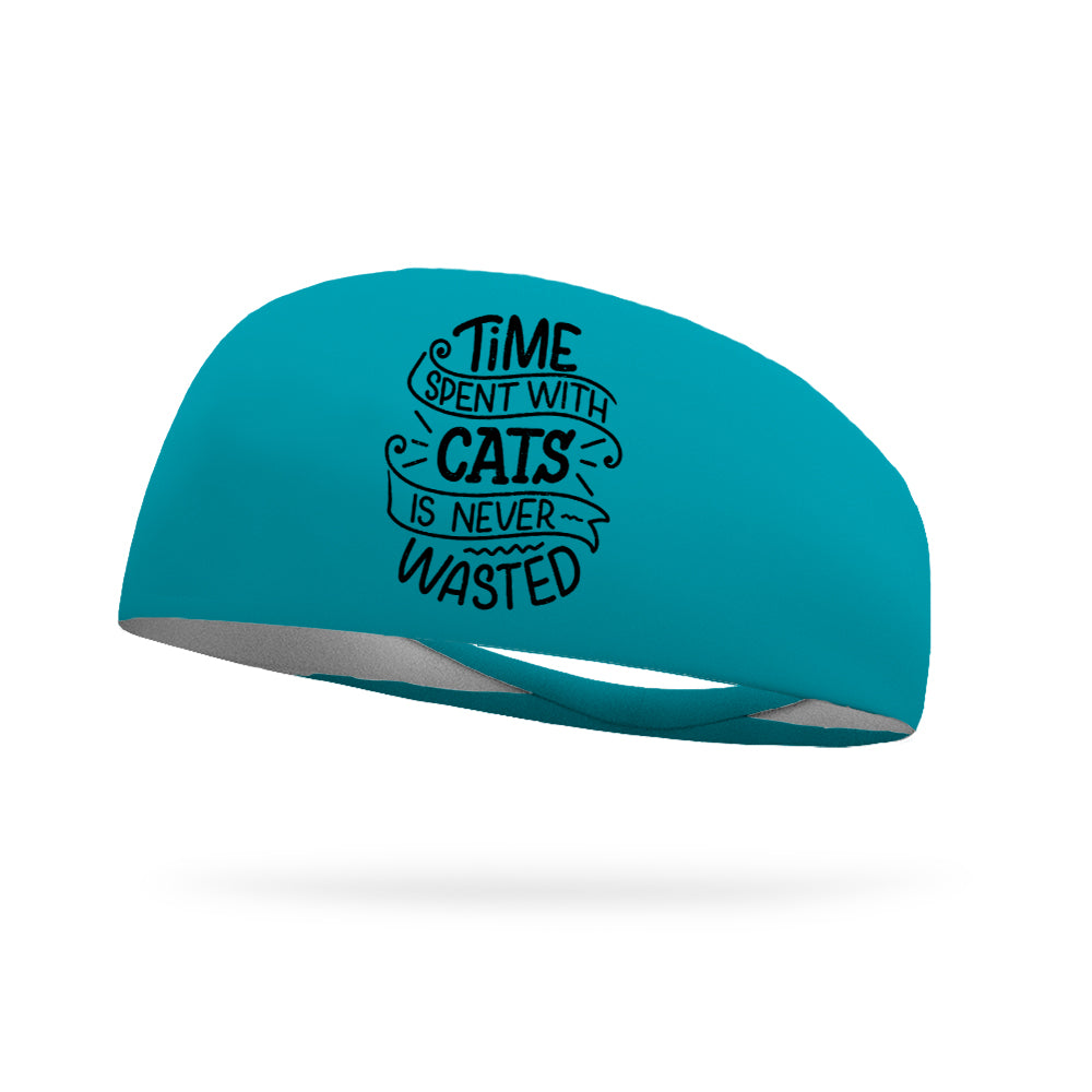 Time Spent with Cats is Never Wasted Wicking Performance Headband -Black Logo