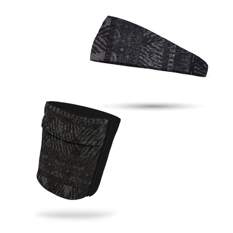 KIDS Tribal Black Neck Gaiter and Headband Wicking Combo